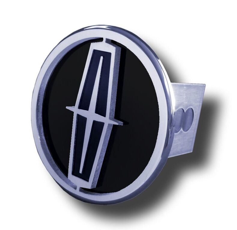 Chrome Lincoln Black Logo Black Fill Stainless Steel Hitch Plug