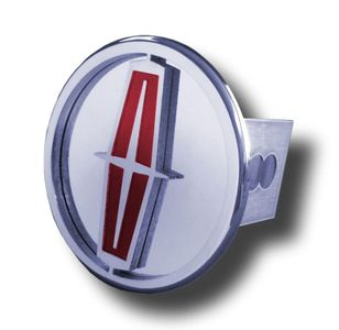 Chrome Lincoln Red Logo Stainless Steel Hitch Plug