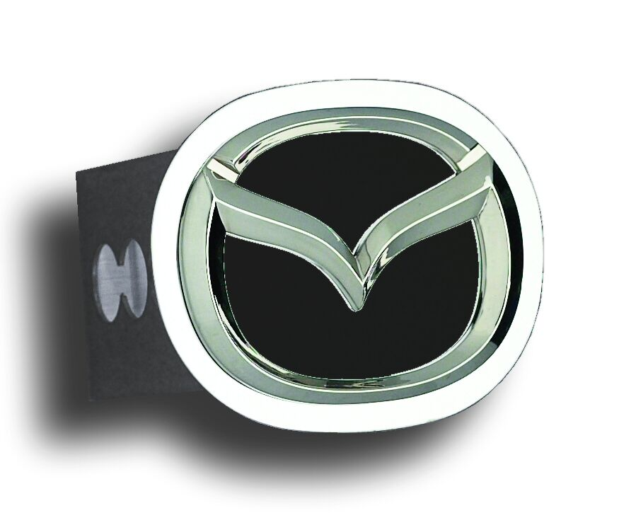 Chrome Mazda Logo Black Fill Stainless Steel Hitch Plug