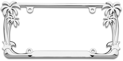 Image of Chrome Palm Tree License Plate Frame