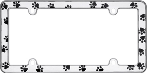 Image of Chrome Paw Prints License Plate Frame