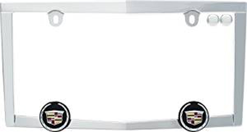 Image of Chrome Plated Cadillac Crested License Plate Frame