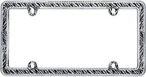 Image of Chrome Plated Clear Zebra Bling License Plate Frame