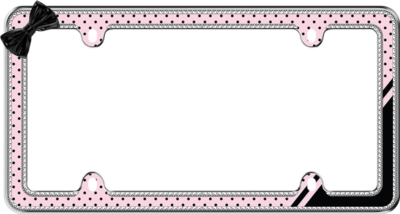 Image of Chrome Plated Pink/Black Retro Polka Dot Bling License Plate Frame