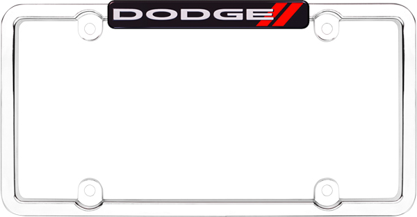 Image of Chrome Plated Black/Red Dogde Logo License Plate Frame