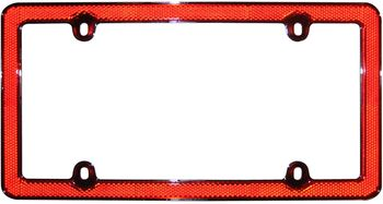Chrome & Red Reflective License Plate Frame