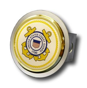 Chrome U.S. Coast Guard Logo Gold Trim Stainless Steel Hitch Plug