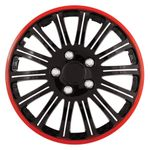 "Cobra Black Chrome 16"" Wheel Cover with Red Accent, (Set of 4)"