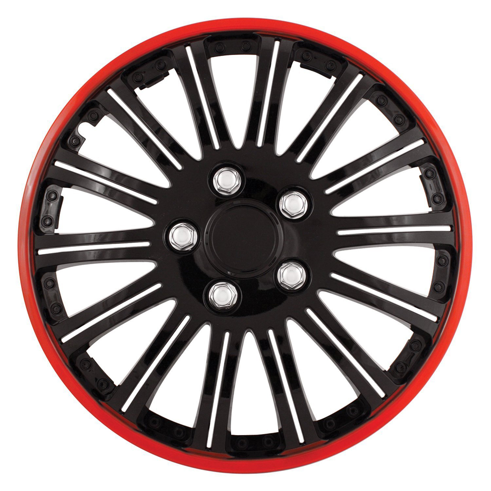 "Image of ""Cobra Black Chrome 16"""" Wheel Cover with Red Accent (Set of 4)"""