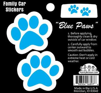 Color Blue Paw Print Stickers