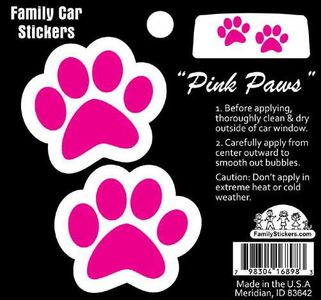 Color Pink Paw Print Stickers