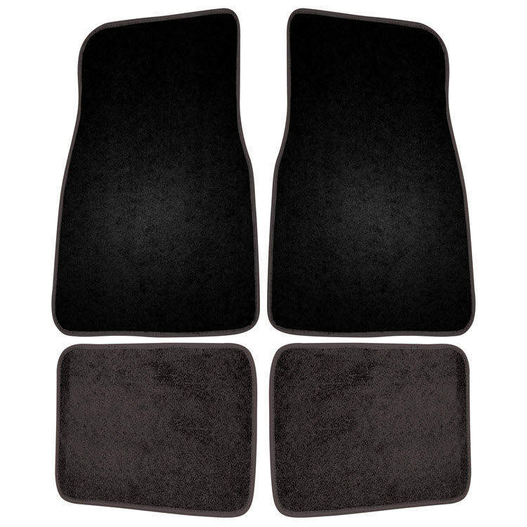 Image of 4 Piece Carpet Floor Mat Set - Black