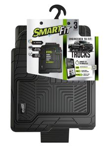 Smart-Fit All Weather Black Rubber 3 Piece Floor Mats for Trucks