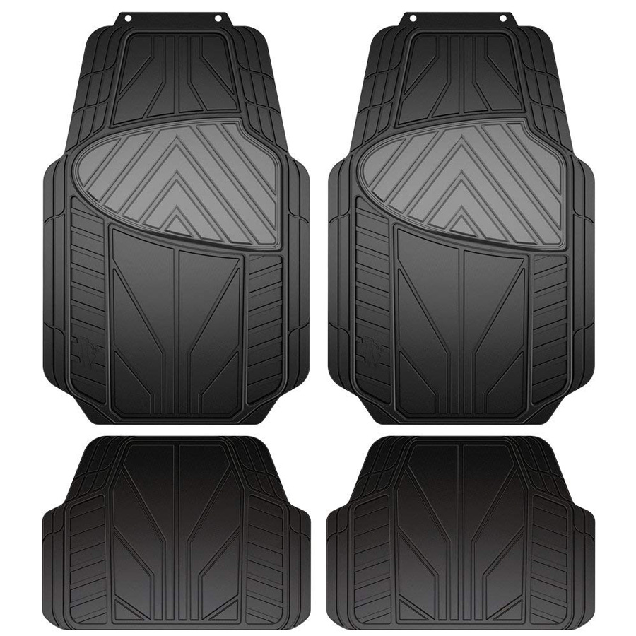 Image of Armor All Black & Grey All Season 4 Piece Rubber Floor Mat Set