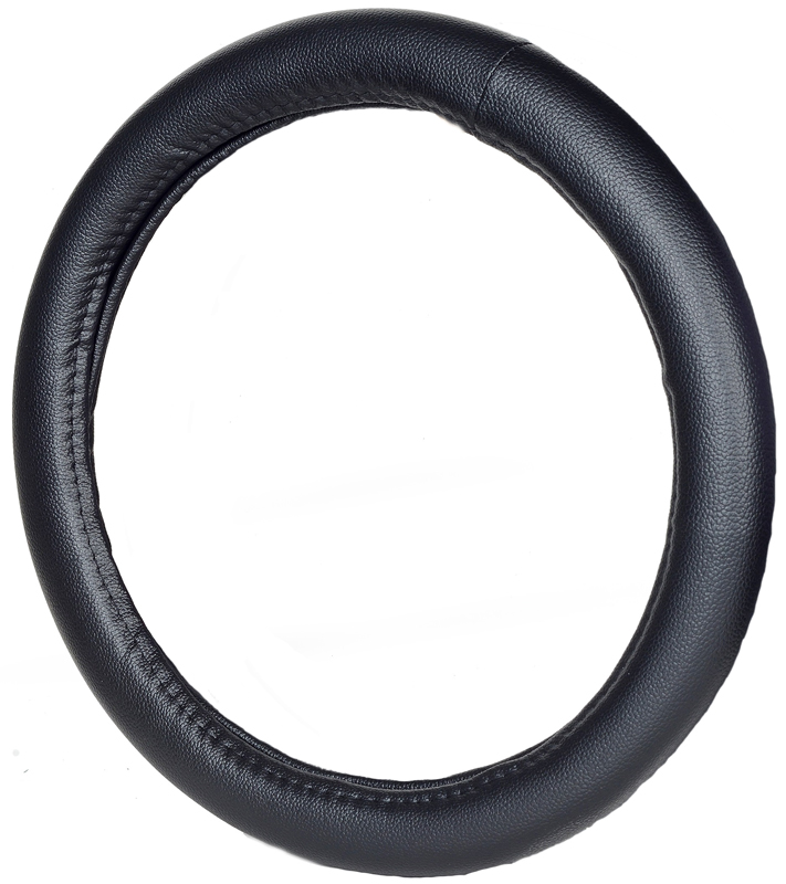 Image of Fat Boy Truck Size Black Leather Steering Wheel Cover