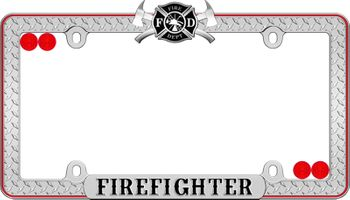 Firefighter Diamond Plate Black & Red License Plate Frame Kit