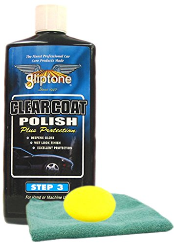 Image of Gliptone Clear Coat Liquid Car Polish (16 oz) Microfiber Cloth & Foam Pad Kit