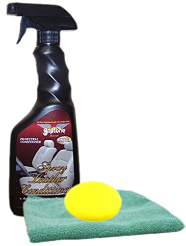 Gliptone Leather Conditioner Spray (17 oz) Microfiber Cloth & Foam Pad Kit