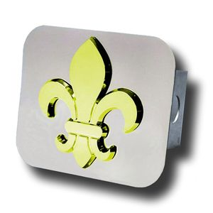 Gold-Plated  Fleur-De-Lis Stainless Steel Hitch Plug