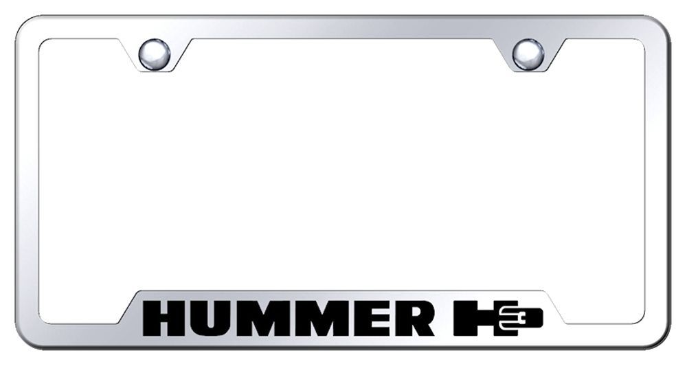 Hummer H3 Laser Etched Mirrored Stainless Steel Cut-Out License Plate Frame