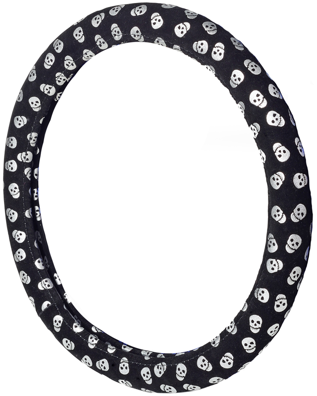 Image of Happy Skull Silver Steering Wheel Cover