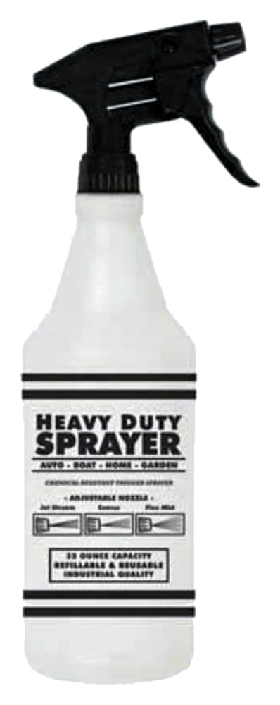 Image of Heavy Duty Chemical Resistant Black Trigger Sprayer Bottle (32 Oz)