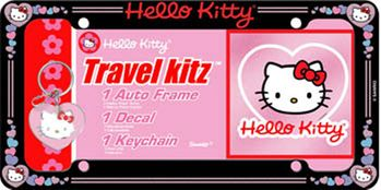 Hello Kitty License Plate Frame, Decal & Keychain Travel Kit