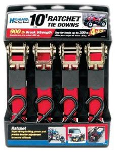 Highland Light Duty 10' Ratchet Tie Down (4 Pack)