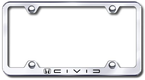 Honda Civic Laser Etched Stainless Steel Wide License Plate Frame ...