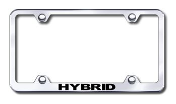 Hybrid Vehicle Laser Etched Stainless Steel Wide License Plate Frame