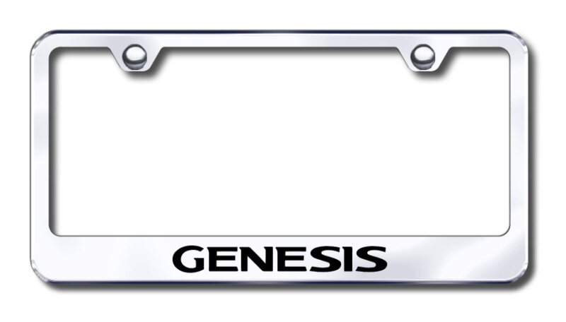 Hyundai Genesis Laser Etched Stainless Steel License Plate Frame -  Black