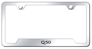 Infiniti Q50 Laser Etched Stainless Steel Cut-Out License Plate Frame