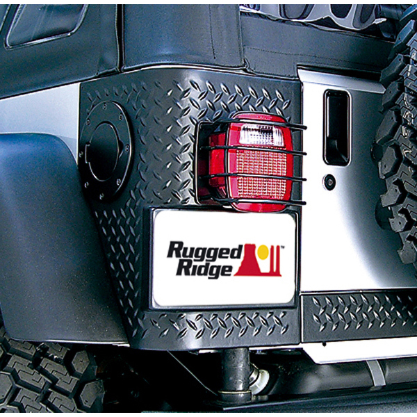 Image of Jeep CJ & Wrangler Black Steel Tail Light EuroGuard-Pair (1976-2006)