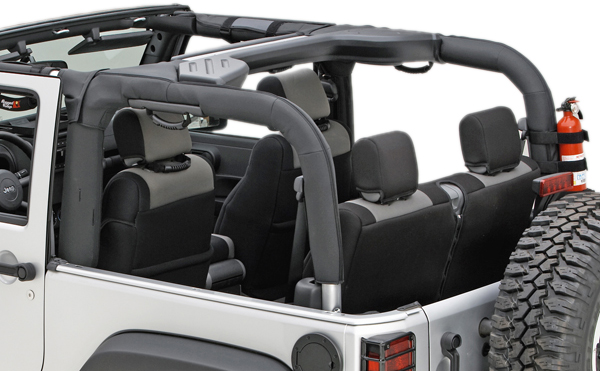 Image of Jeep Wrangler 2 Door Black Polyester Roll Bar Cover (2007-2018)