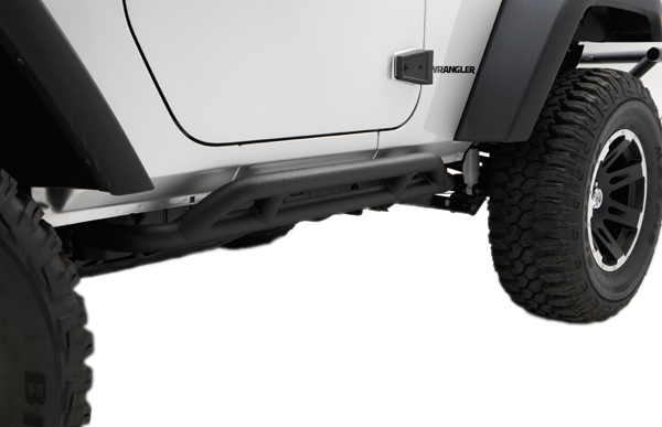 Image of Jeep Wrangler JK 2-Door Black RRC Rocker Sliders-Pair (2007-2018)