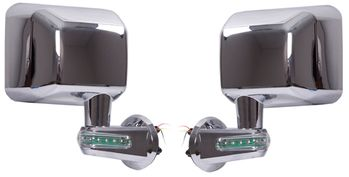 Jeep Wrangler JK Chrome Mirrors With LED Turn Signal Indicators-Pair (2007-2018)