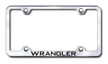 Jeep Wrangler Laser Etched Stainless Steel Wide License Plate Frame