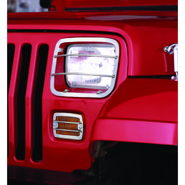 Jeep Wrangler Stainless Steel Headlight & Turn Signal Guards (1987-1995)