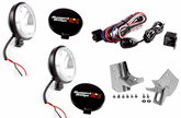 Jeep Wrangler TJ 5 PC Black Slim Fog Lights w/SS Windshield  Light Mounts Kit (1997-2006)