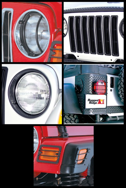 Image of Jeep Wrangler TJ Black 15 Pc. Euro Guard Headlight Bezel & Grille Insert Kit (1997-2006)