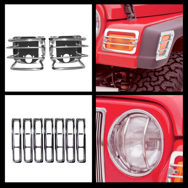 Image of Jeep Wrangler TJ Stainless Steel 15 Pc. Euro Guard Headlight Bezel & Grille Insert Kit (1997-2006)