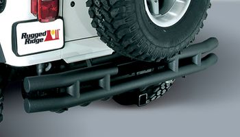 Jeep Wrangler & Unlimited Black Rear Tube Bumper w/Hitch (1987-2006)