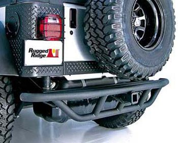 Jeep Wrangler & Unlimited Black Textured Rear Bumper With Hitch (1987-2006)