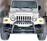 Jeep Wrangler/Unlimited & CJ Black Front Tube Bumper With Riser (1976-2006)