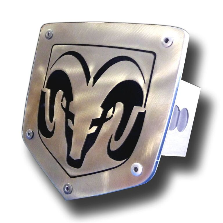 Laser Cut Ram Logo Brushed Stainless Steel Hitch Plug