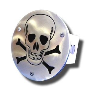 Laser Cut Skull Brushed Stainless Steel Hitch Plug