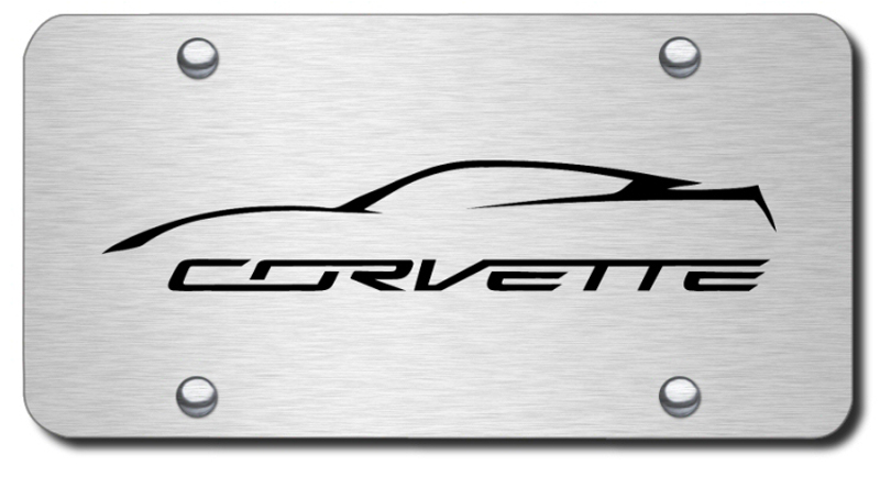 Image of Laser Etched Corvette Logo Stainless Steel License Plate