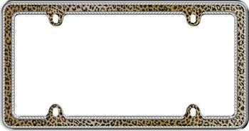 Leopard Print Bling Chrome License Plate Frame