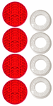 License Plate Fastener Red Reflective Caps (Set of 4)