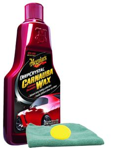 Meguiar's Deep Crystal Carnauba Liquid Wax (16 oz.), Foam Pad & Microfiber Cloth Kit